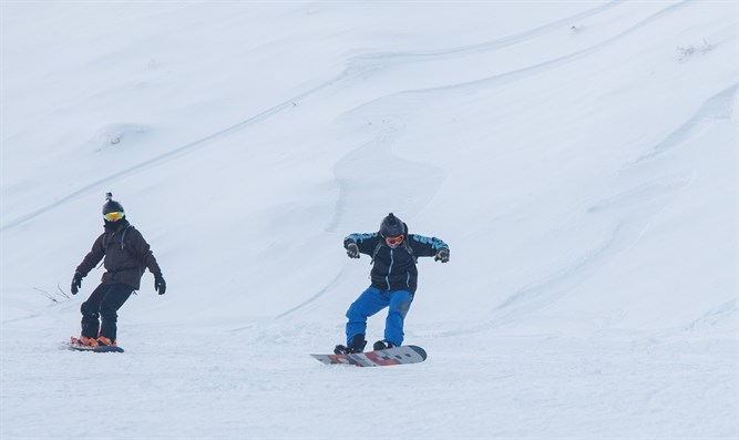 Snowboarding on Mount Hermon