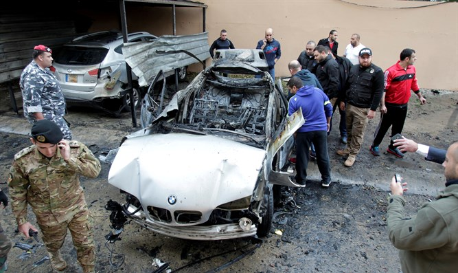 Exploded car in Sidon