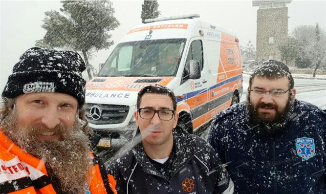 United Hatzalah volunteers and ambulances in action in Israel's north on Friday morning.