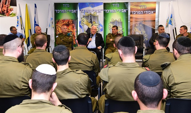 Rivlin with Abirei Hashachar soldiers