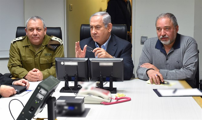 IDF Chief of Staff Gadi Eizenkot, PM Netanyahu, and Defense Minister Avigdor Liberman
