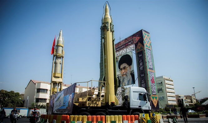 Display featuring missiles and portrait of Iran's Supreme Leader Ayatollah Ali Khamenei