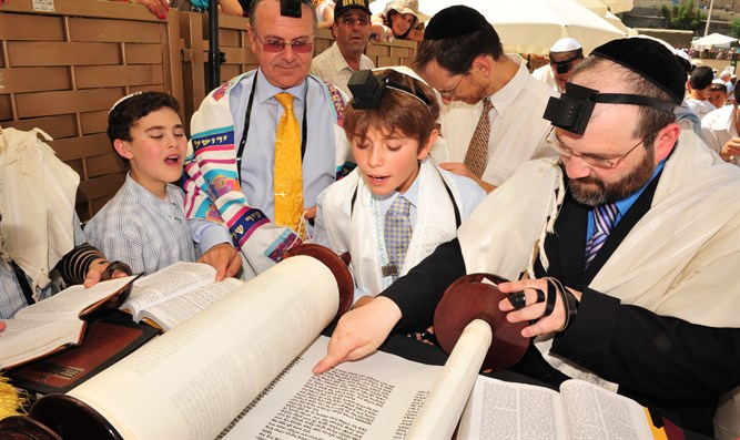 American boy celebrates his bar mitzvah