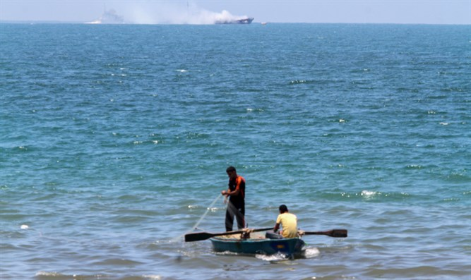 Fishing boat off Gaza coast (illustration)