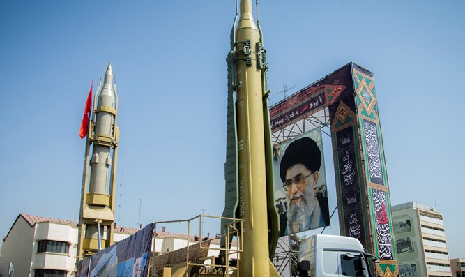 Display featuring missiles and a portrait of Iran's Supreme Leader Ayatollah Ali Khamenei
