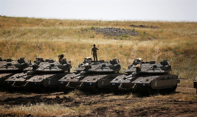 Israeli tanks at the ready on the Golan, Israel