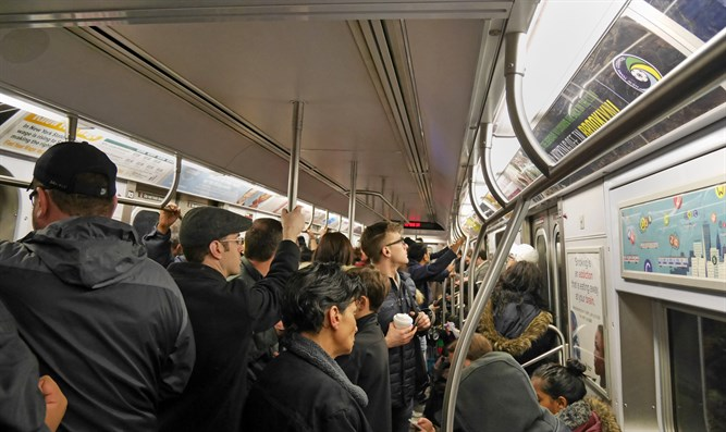 Crowded New York subway train
