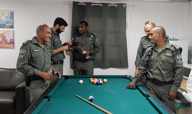 Border Police soldiers in the new rec room