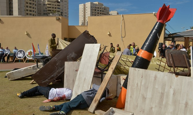 IDF exercise to simulate damages caused by rockets in school in Ohr Yehuda