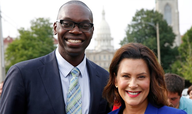 Garlin Gilchrist with running mate Gretchen Whitmer