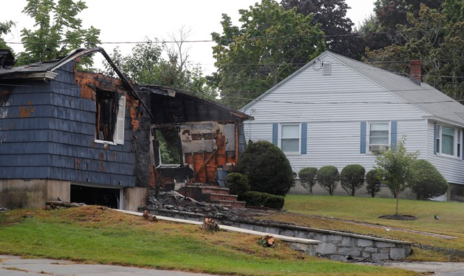 A home burned by the gas explosions in Lawrence, Massachusetts.