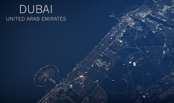 Map of Dubai, satellite view, United Arab Emirates