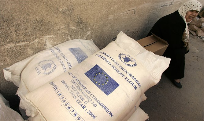 Woman receives aid from World Food Program office in Gaza