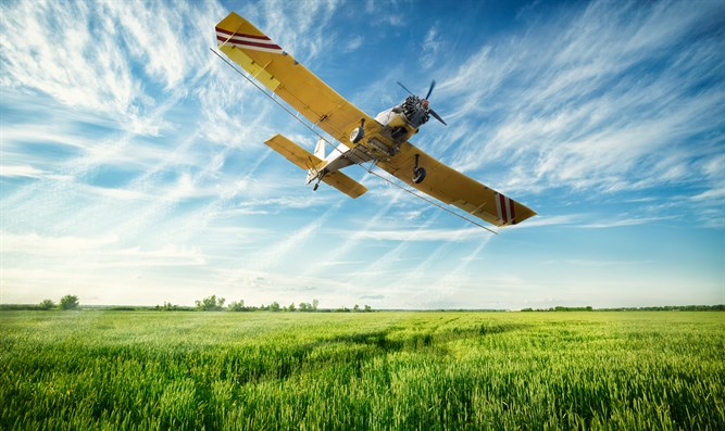 Pesticide-spraying plane