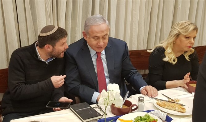 Smotrich (L) and Netanyahu