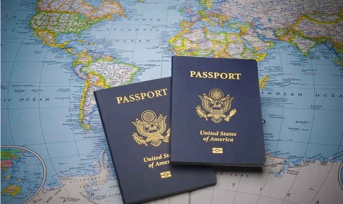 US passports on map