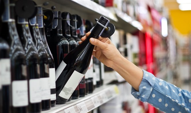 Buying wine at a supermarket (illustrative)