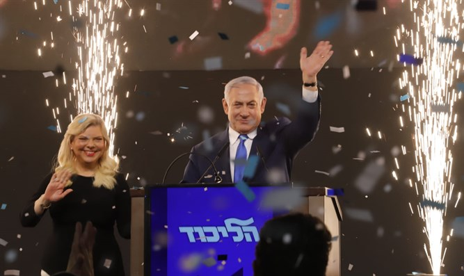 Netanyahu, and his wife Sara, celebrate election victory