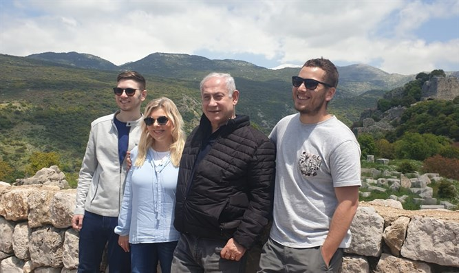 The Netanyahus on a Passover vacation in the Golan.