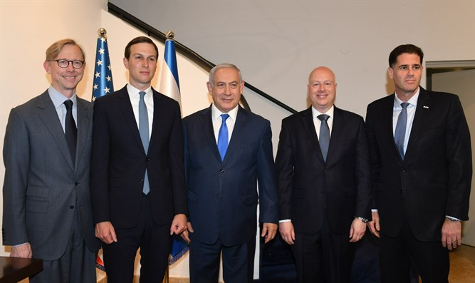 Netanyahu with Kushner, Hook, Greenblatt and Dermer.