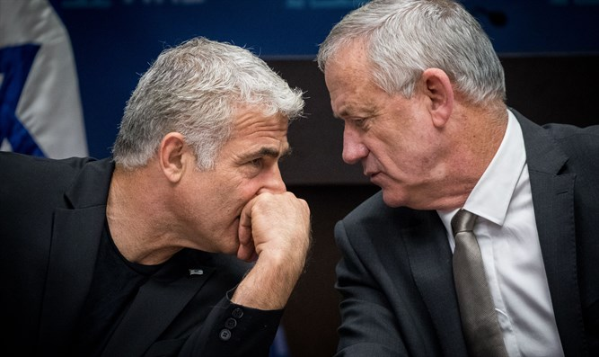 Blue and White leaders Yair Lapid and Benny Gantz