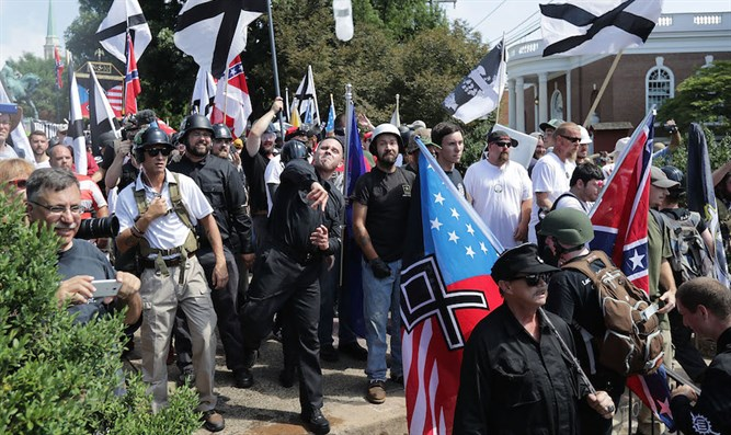 White nationalists at Unite the Right rally in Charlottesville, Aug. 12, 2017