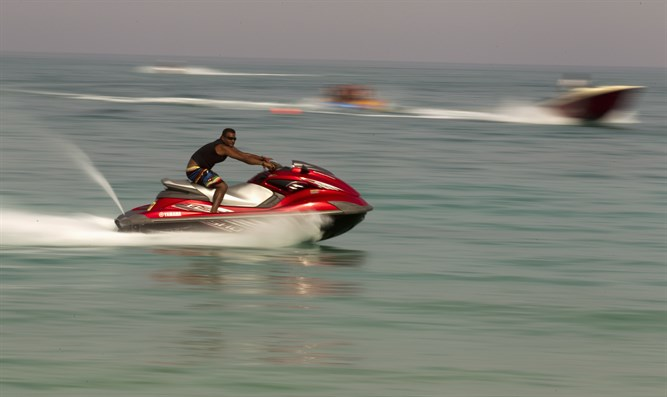 Jet ski off the beach of Kish Island, 1,250 kilometers south of Teheran