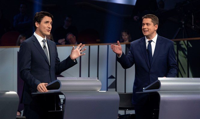 Justin Trudeau and Andrew Scheer at pre-election debate, October 10th 2019