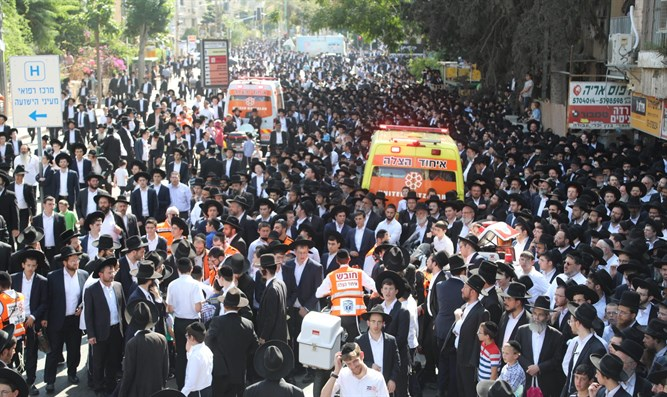 Ambulances at the funeral procession of Rabbi Karelitz in Bnei Brak