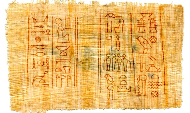 Ancient papyrus with Egyptian hieroglyphs