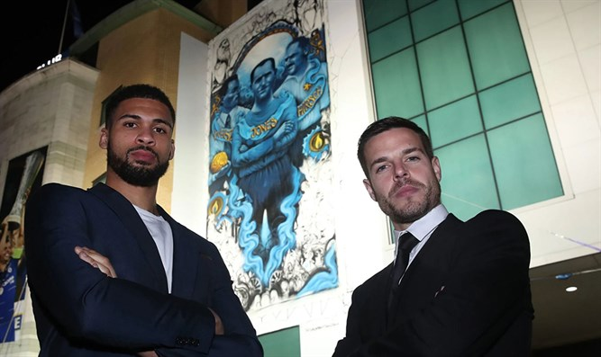 Chelsea soccer players Ruben Loftus-Cheek (L), Cesar Azpilicueta (R) in front of the mural