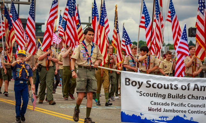 Boy Scouts of America in the Grand Floral Parade, during Portland Rose Festival