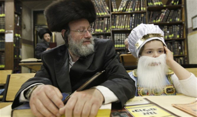 Purim megillah father and son