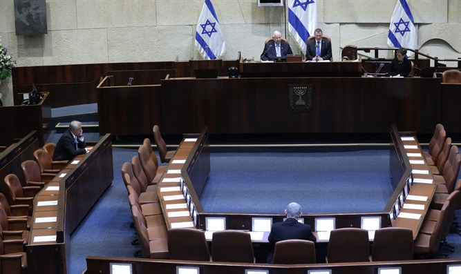 Gantz and Netanyahu at swearing in of 23rd Knesset